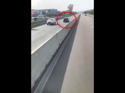 【衝撃】高速道路を時速100kmで逆走していた乗用車がどうなるかをごらんください・・(動画あり)